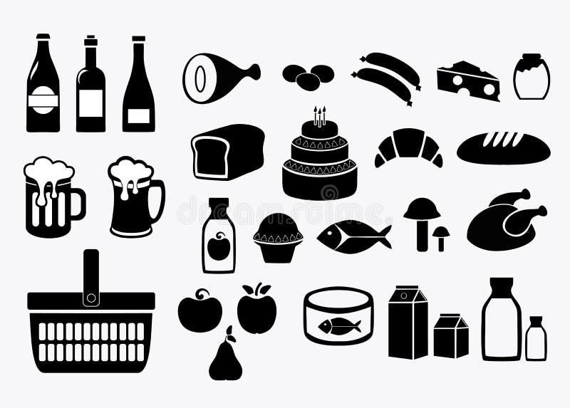 Alimento grocery Iconos fijados Ejemplo común del vector aislado en el fondo blanco stock de ilustración