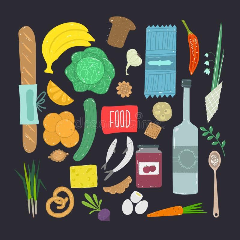 Alimento Grupo tirado mão de ingrediente de alimento saudável com rotulação ilustração stock