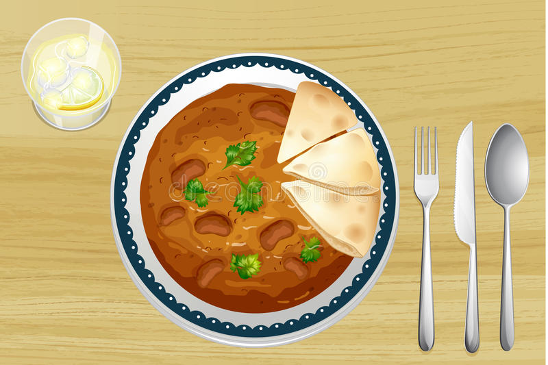 Alimento indiano com pão ilustração stock