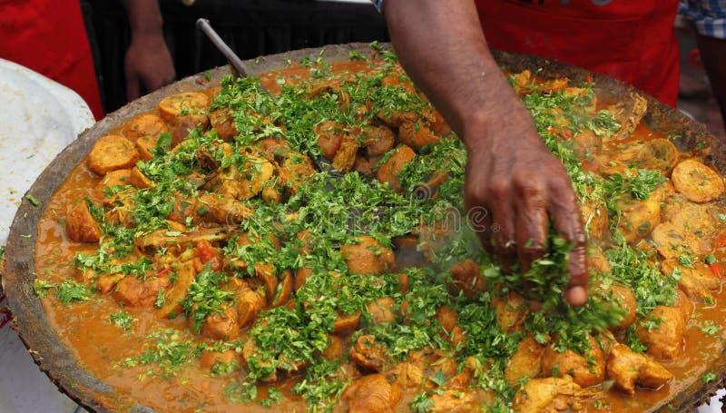 Alimento indiano da rua: Prato de galinha foto de stock royalty free