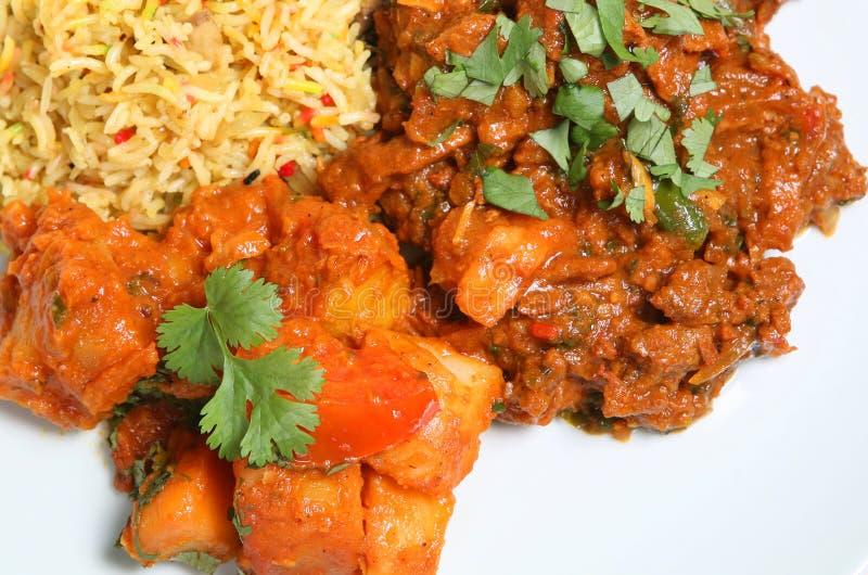 Alimento indiano del pasto del curry di agnello fotografia stock