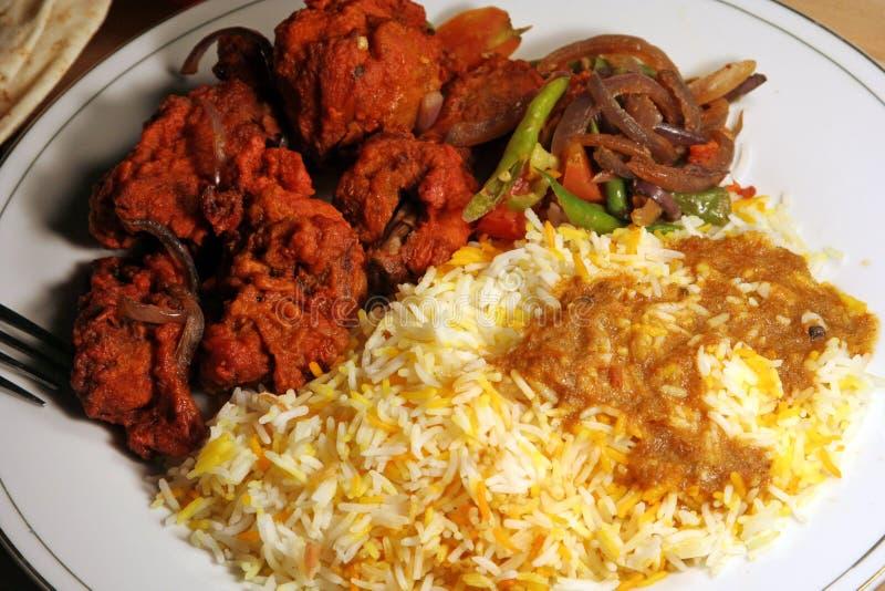 Alimento indiano di biryani con il masala del pollo fotografia stock