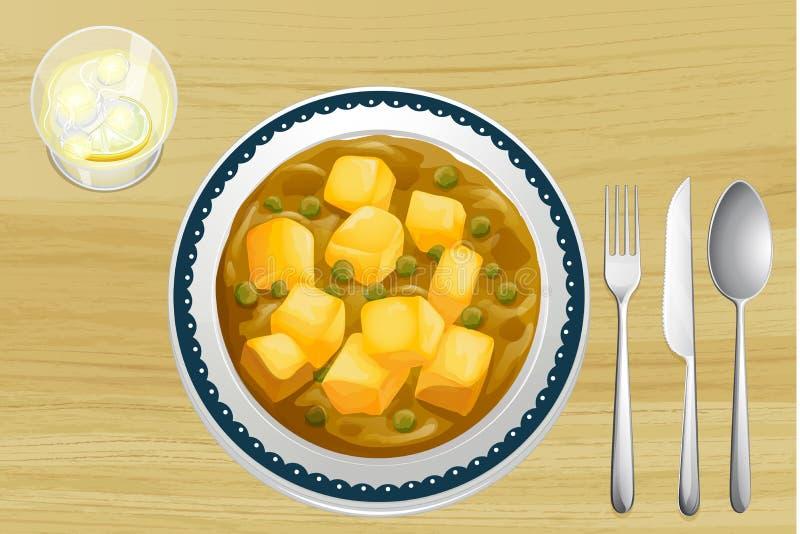 Alimento indiano em uma tabela de madeira ilustração stock