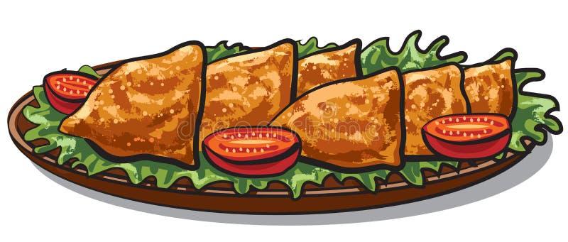 Alimento indiano Samosa ilustração stock