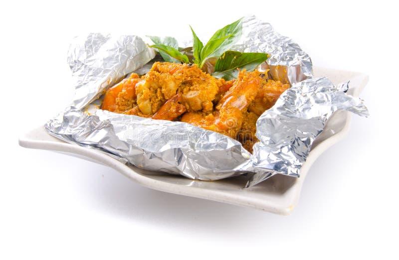 Alimento infornato dell'asiatico del gambero del curry fotografia stock