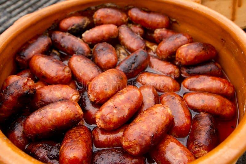 Alimento insalubre espanhol da salsicha vermelha do chorizo fotografia de stock royalty free