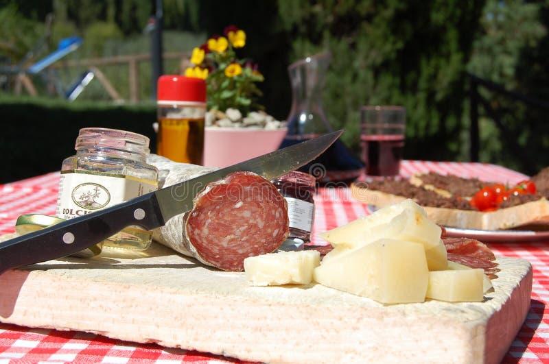 Alimento italiano della Toscana in un hotel della casa dell'azienda agricola fotografia stock libera da diritti