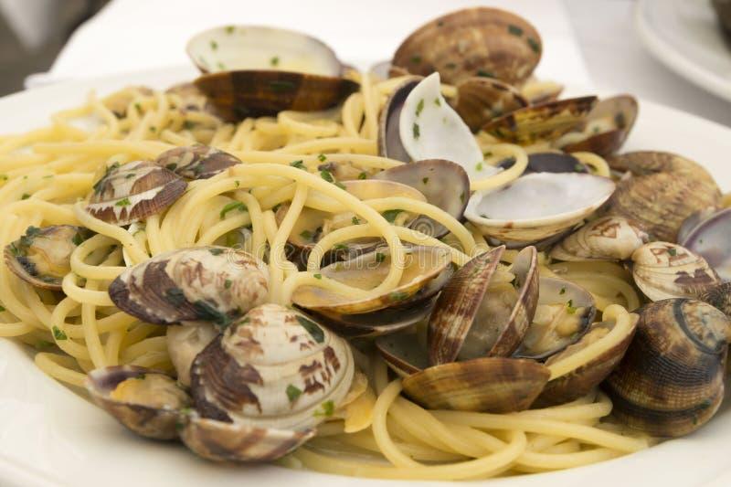 Alimento italiano Espaguete com moluscos fotografia de stock