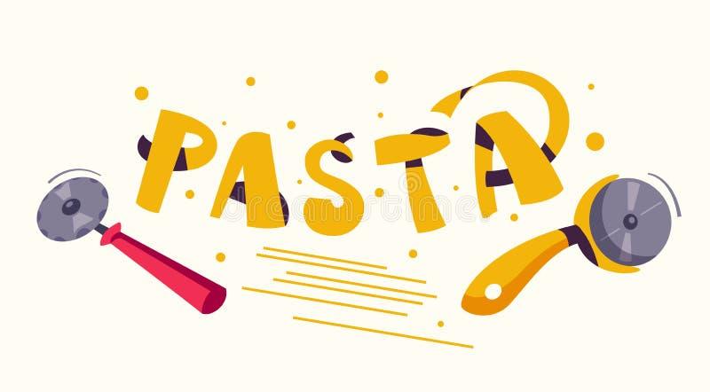 Alimento italiano Fabricaci?n de las pastas deliciosas Ilustraci?n del vector de la historieta libre illustration
