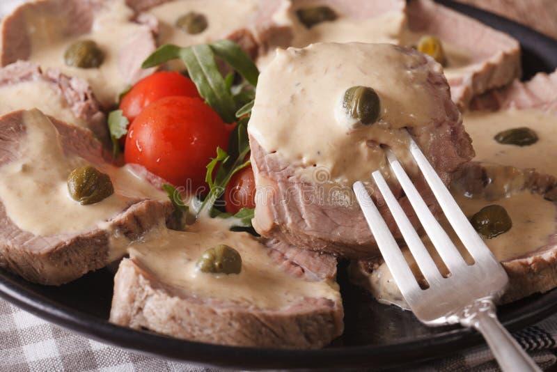 Alimento italiano: Macro di tonnato di Vitello orizzontale fotografie stock libere da diritti