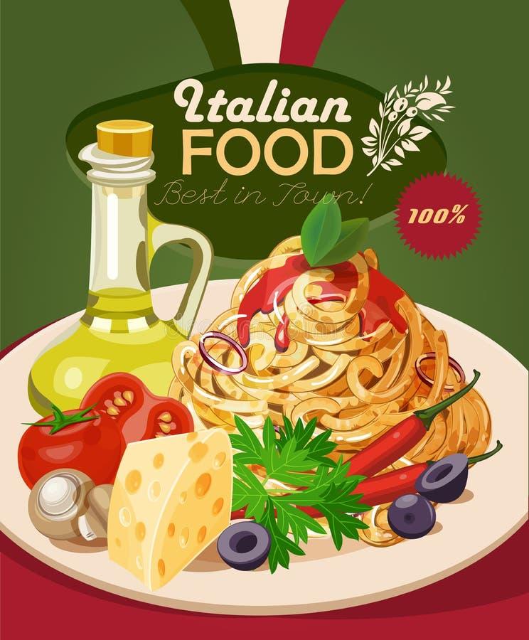 Alimento italiano Pasta, spaghetti, olio d'oliva illustrazione di stock