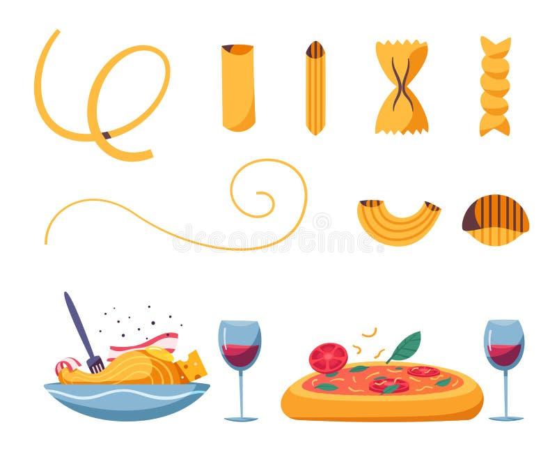 Alimento italiano Pastas deliciosas Ilustración del vector de la historieta stock de ilustración