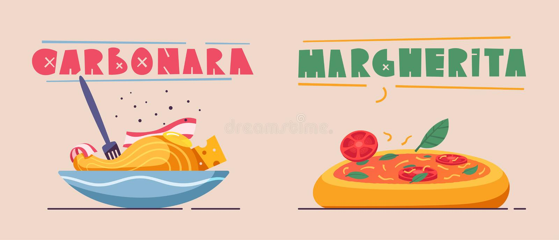 Alimento italiano Pastas deliciosas Ilustración del vector de la historieta ilustración del vector