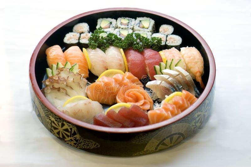 Alimento japonês, bacia de Sashimi   fotografia de stock royalty free
