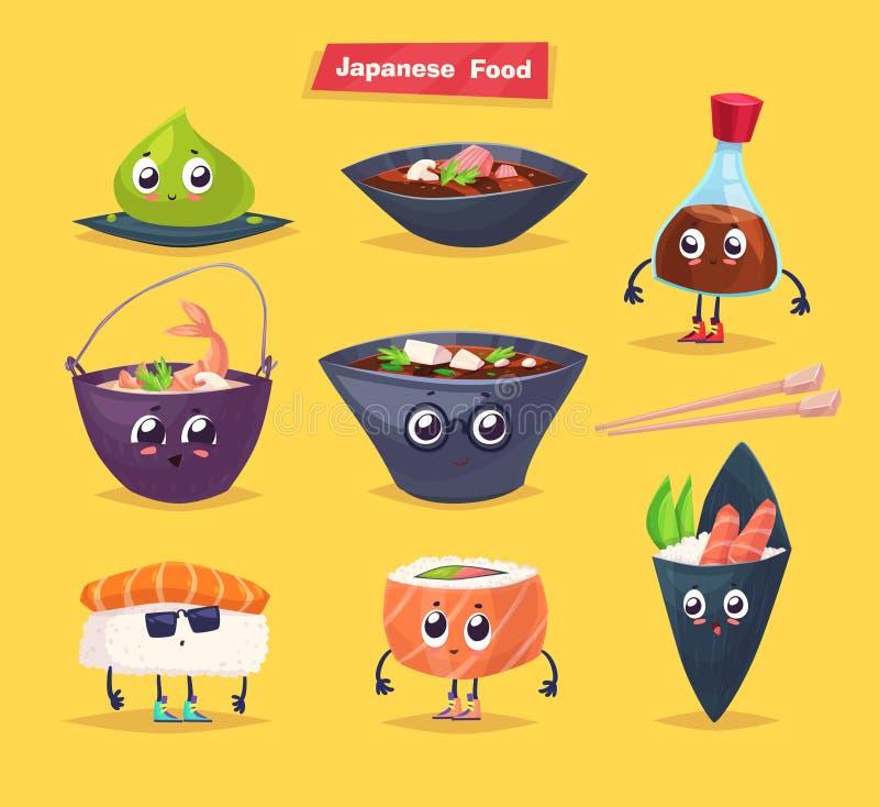 Alimento japonês Molho de soja e rolo de sushi Vetor ilustração stock