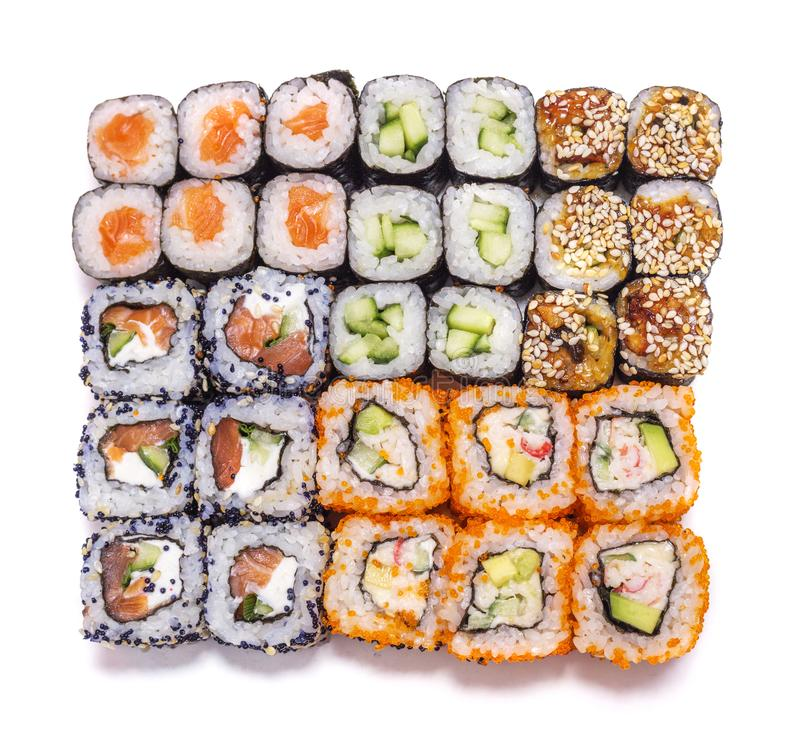Alimento japonês Rolos diferentes ajustados imagem de stock royalty free