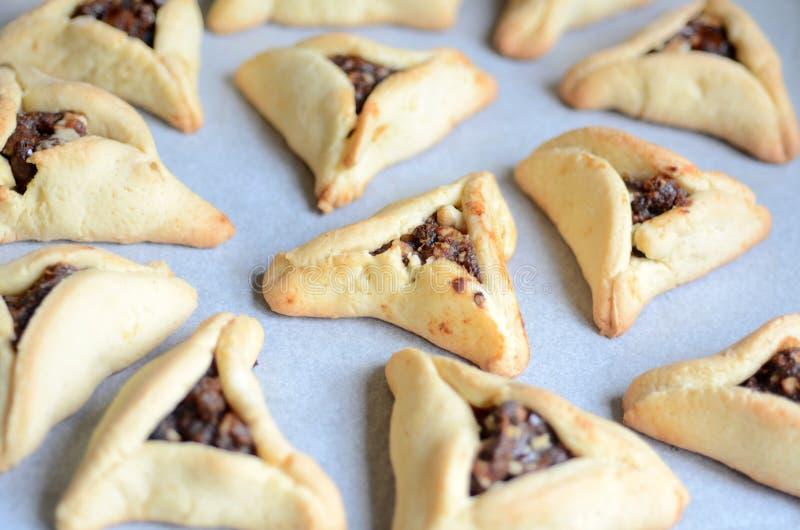 Alimento judaico do feriado de Purim - Hamentashen, Ozen Haman imagem de stock royalty free