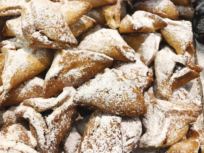 Alimento judaico tradicional do feriado - Purim Hamantaschen imagem de stock royalty free