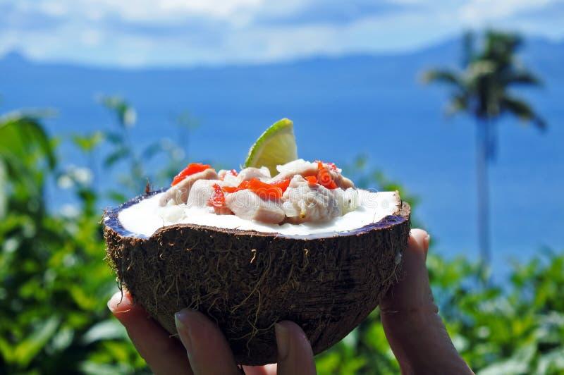 Alimento Kokoda del Fijian contro il paesaggio tropicale dell'isola fotografia stock