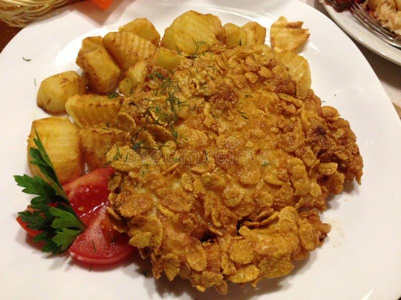 Alimento, latvian, batatas, carne foto de stock