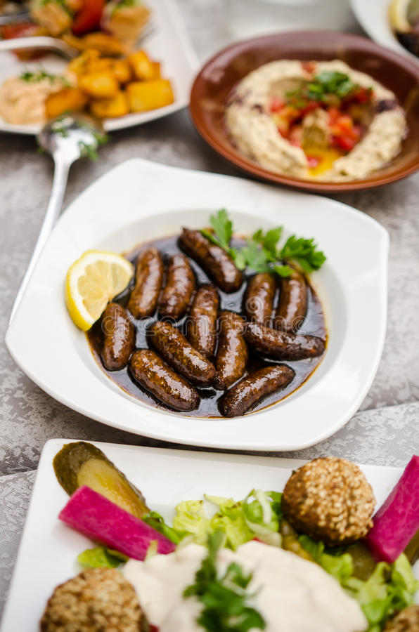 Alimento libanês no restaurante fotografia de stock