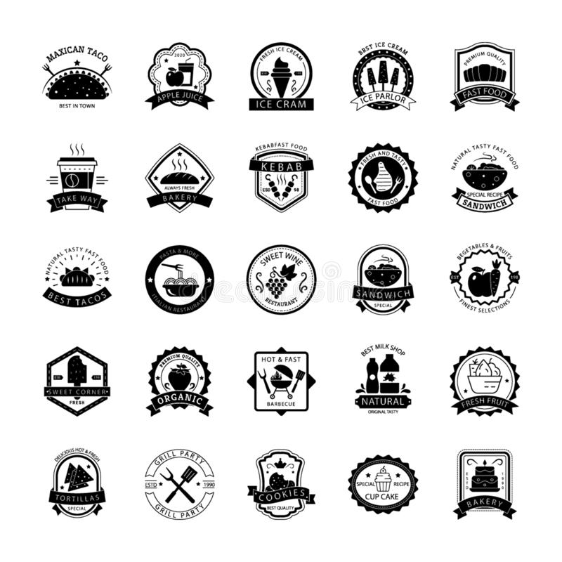 Alimento Logo Icons Set illustrazione vettoriale