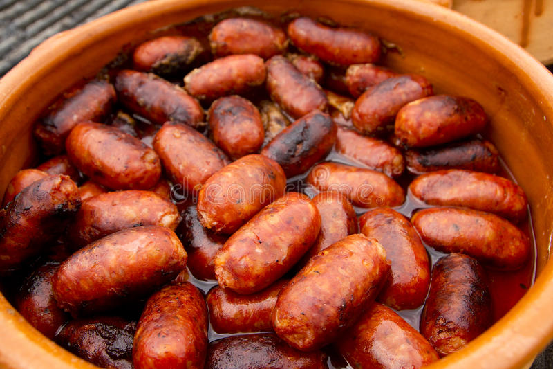 Alimento malsano español de la salchicha roja del chorizo fotografía de archivo libre de regalías