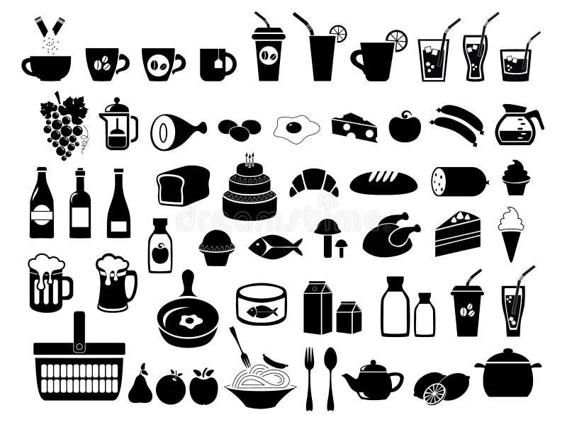 Alimento, mantimento Os ícones ajustados Ilustração do vetor ilustração royalty free