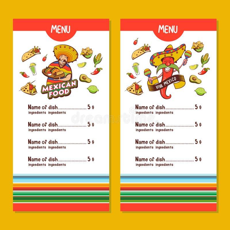 Alimento messicano La disposizione del menu del ristorante messicano illustrazione vettoriale