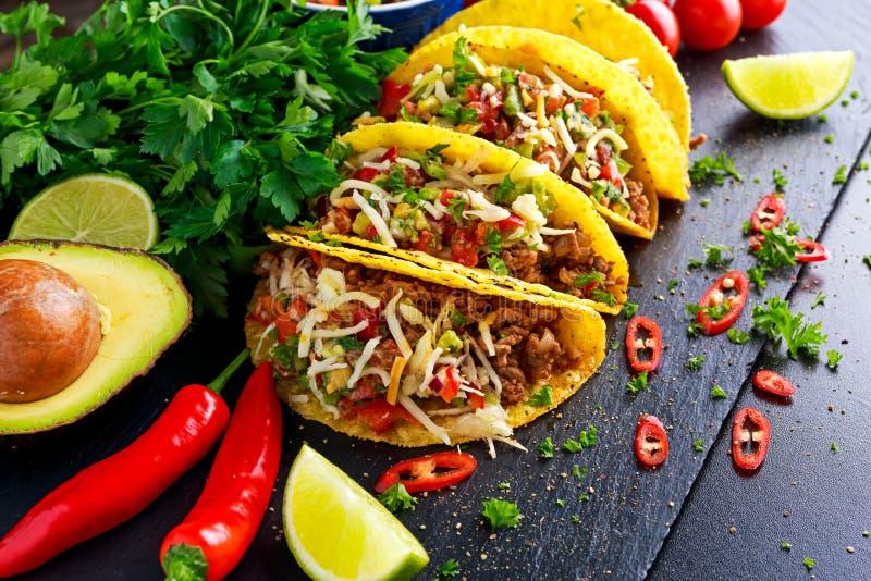 Alimento messicano - le coperture deliziose del taco con carne tritata e la casa hanno prodotto la salsa immagine stock libera da diritti