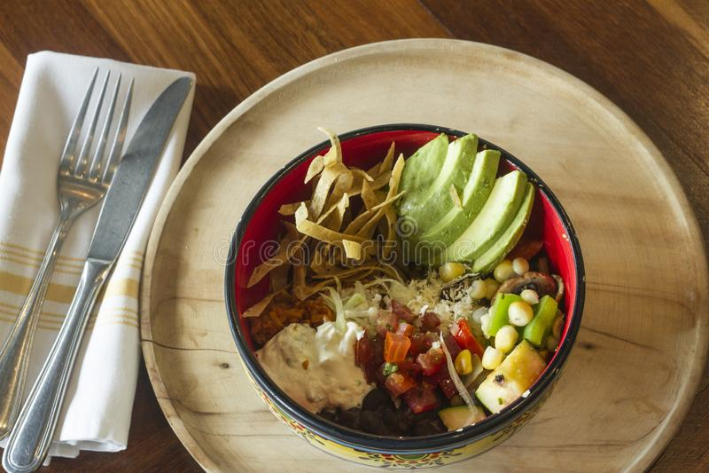 Alimento messicano: Tortiglia con panna acida, l'avocado ed il pomodoro fotografie stock libere da diritti