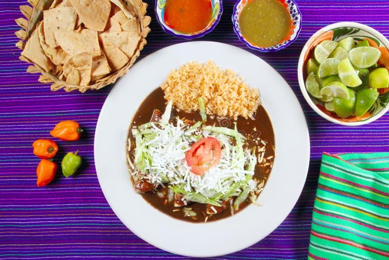 Alimento mexicano de los enchiladas del topo con las salsas de chile imagen de archivo libre de regalías