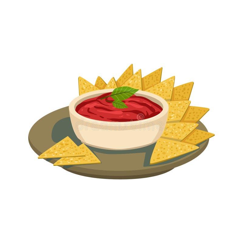 Alimento mexicano do prato da culinária de Chips With Tomato Salsa Traditional dos Nachos da ilustração do vetor do menu do café ilustração royalty free