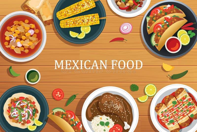 Alimento mexicano em um fundo de madeira Opinião superior do alimento mexicano ilustração do vetor