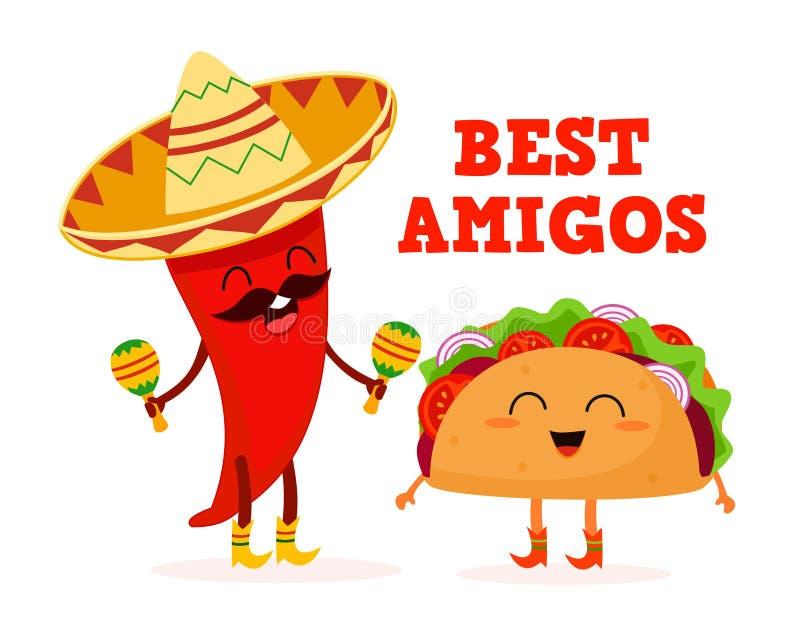 Alimento mexicano Taco e pimenta Caráteres estilizados Ilustração do vetor ilustração stock