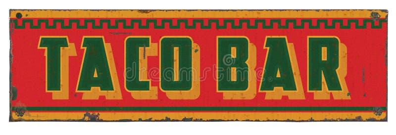Alimento mexicano Tin Sign Vintage Rustic da salsa da barra do taco fotos de stock royalty free