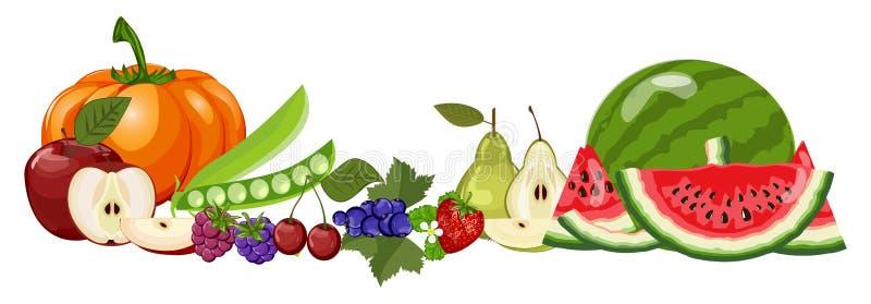 Alimento natural saudável da dieta orgânica, abóbora, cereja, amora-preta, maçã, pera, framboesa, morango, melancia, corinto ilustração royalty free