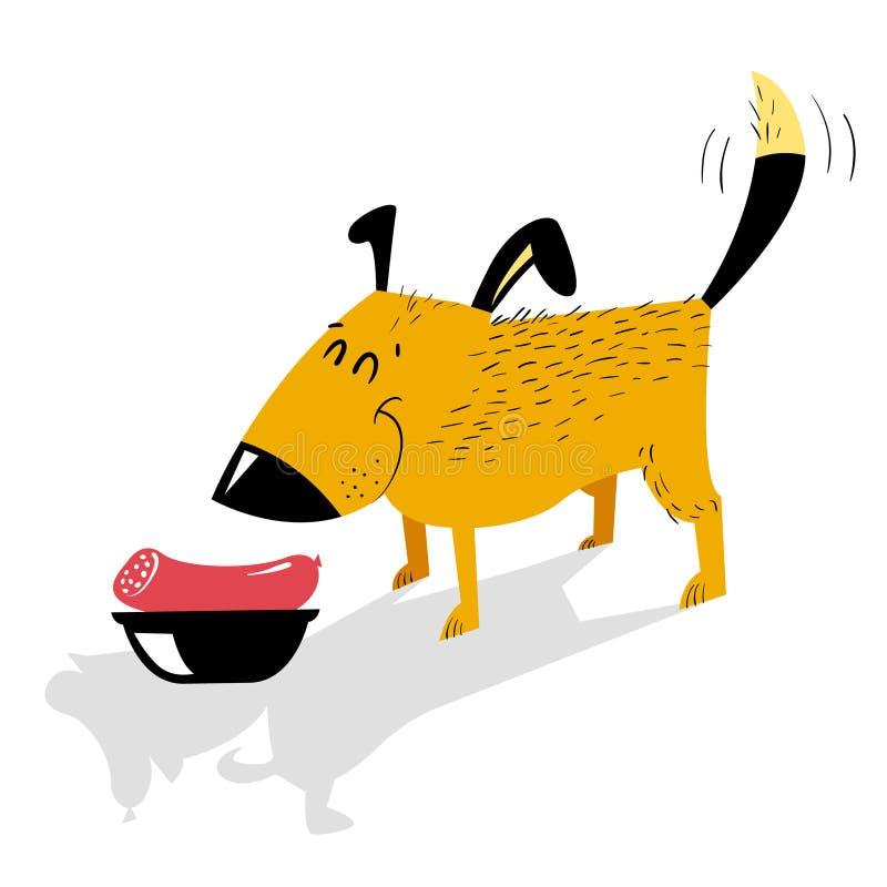 Alimento naturale per il cane Un cane allegro sta stando davanti ad una b royalty illustrazione gratis