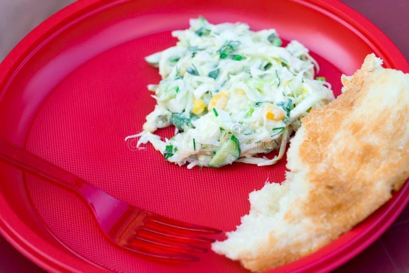 Alimento nos utensílios plásticos descartáveis vermelhos O alimento é vegetariano imagens de stock royalty free