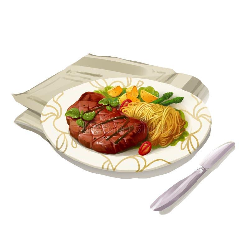 Alimento ocidental, bife isolado no fundo branco ilustração stock