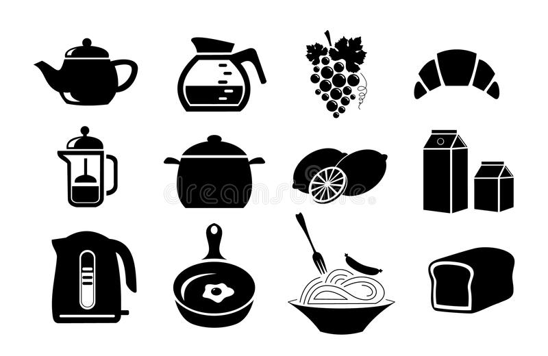 Alimento Paquete de la comida grocery Conjunto de iconos stock de ilustración