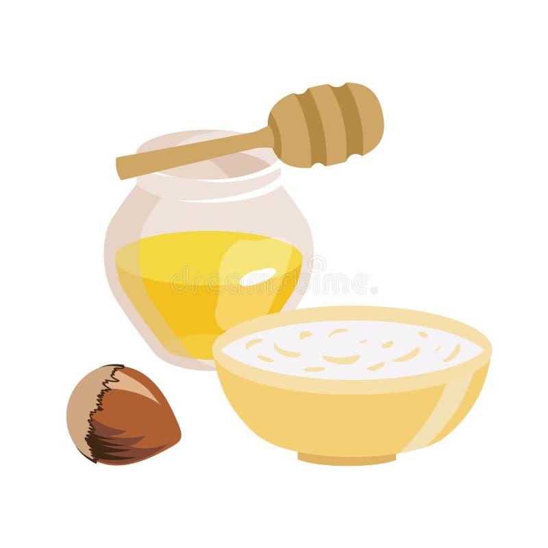 Alimento pelo tempo Lent Frasco transparente com mel Uma bacia de farinha de aveia hazelnut Ilustração isolada do vetor ilustração stock