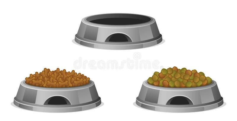 Alimento per animali domestici in ciotola illustrazione di stock