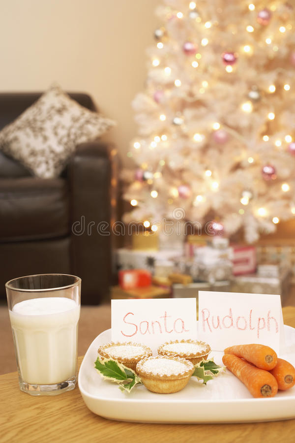 Alimento per Santa And Rudolph At Home fotografia stock