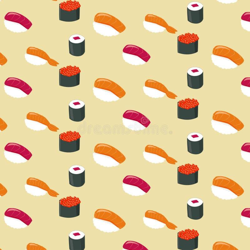 Alimento piano dei rotoli di sushi e rotoli di sushi giapponesi dei frutti di mare Vettore illustrazione vettoriale