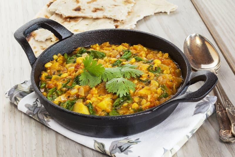 Alimento piccante indiano di Dhal in un piatto di Balti fotografia stock