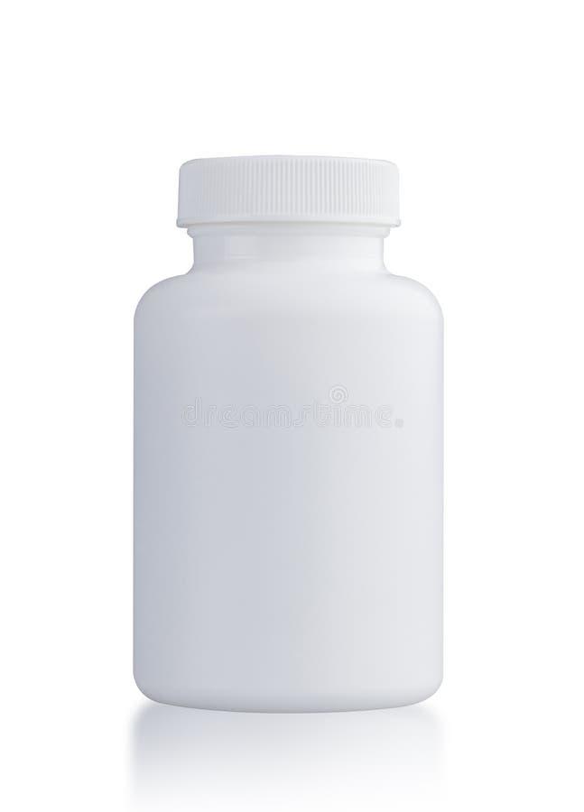 Alimento plástico suplementar claro da garrafa isolado no branco imagens de stock