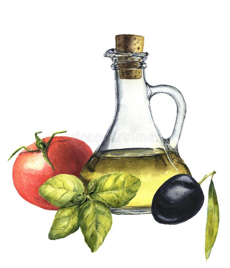 Alimento popolare mediterraneo dell'acquerello: pomodoro, basilico, oliva e olio d'oliva illustrazione vettoriale