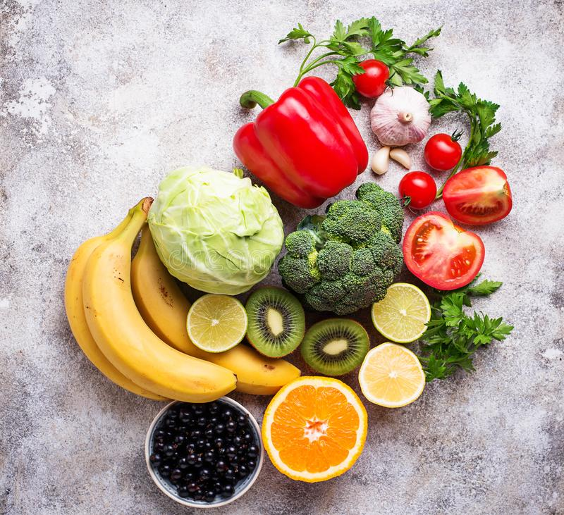 Alimento que contém a vitamina C Comer saudável foto de stock