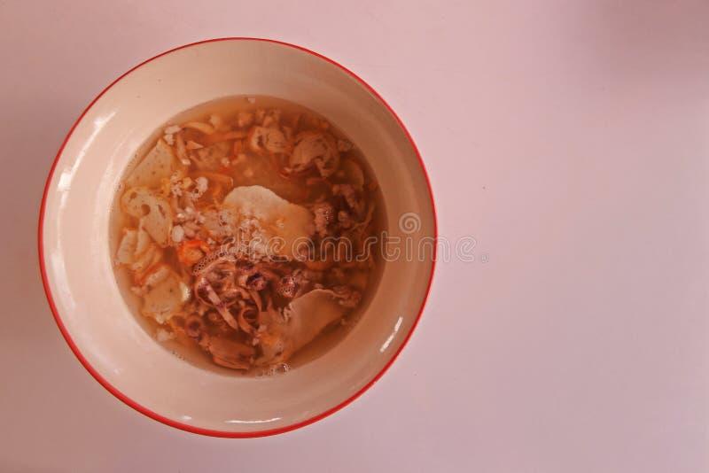 Alimento rapido e facile della minestra di pasta di riso, fotografia stock